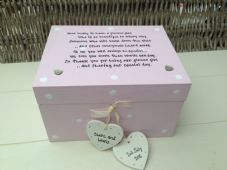 Shabby Personalised Chic Flowergirl Or Bridesmaid Wedding Trinket Gift Box